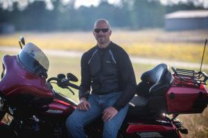 Bohn Customer wearing All-Season Airtex Armored Motorcycle Shirt in Black