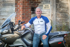 Bohn Body Armor Customer Chip wearing the All-Season Airtex Armored Motorcycle Shirt