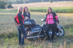 Three Female Riders wearing Bohn Body Armor - All-Season Armored Motorcycle Pants and their All-Season Airtex Riding Shirts