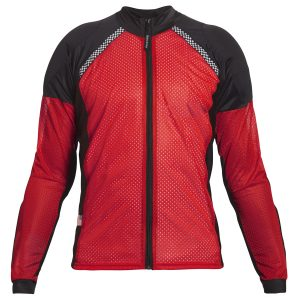 Bohn Body Armor All Season Airtex Motorcycle Shirt with Zipper Red Front