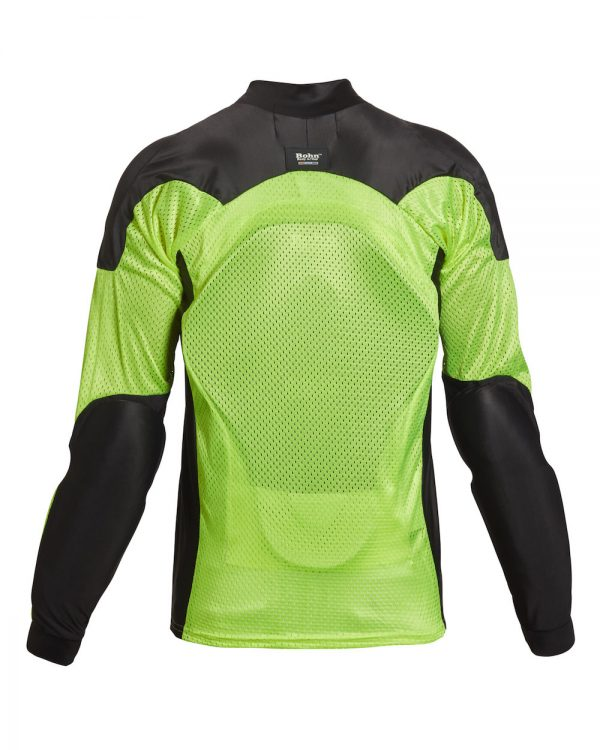 Bohn Body Armor All Season Airtex Motorcycle Shirt High-Visibility Yellow-Back