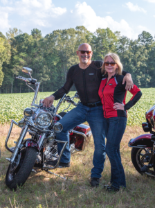 Bill and Erika - Bill is wearing the Cool-Air Armored Motorcycle Shirt Erika is wearing the all-season armored motorcycle shirt in red