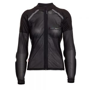 Bohn Body Armor All-Season Airtex Armored Motorcycle Riding Shirt with Zipper Black Front-Women