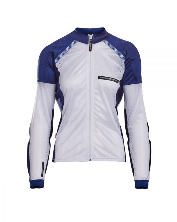 Bohn Body Armor All-Season Airtex Armored Motorcycle Riding Shirt with Zipper Blue and White Front-Women