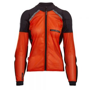 Bohn Body Armor All-Season Airtex Armored Motorcycle Riding Shirt with Zipper Orange Front-Women