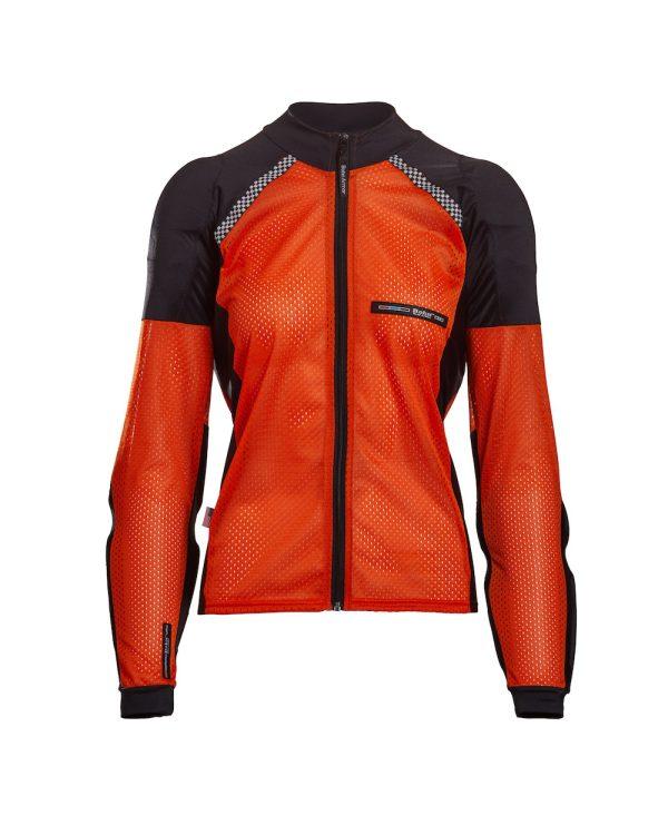 Bohn Body Armor All-Season Airtex Armored Motorcycle Riding Shirt with Zipper Orange Front-Women