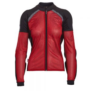 Bohn Body Armor All-Season Airtex Armored Motorcycle Riding Shirt with Zipper Red Front-Women
