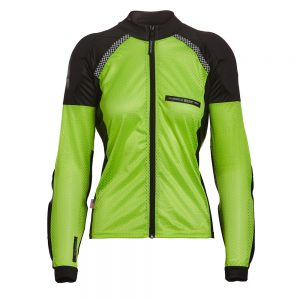 Bohn Body Armor All-Season Airtex Armored Motorcycle Riding Shirt with Zipper High-Visibility Yellow Front-Women