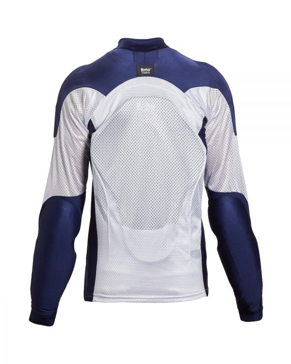 Bohn Body Armor All Season Airtex Armored Motorcycle Riding Shirt Blue and White-Back