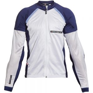 Bohn Body Armor All Season Airtex Armored Motorcycle Riding Shirt with Zipper Blue and White Front