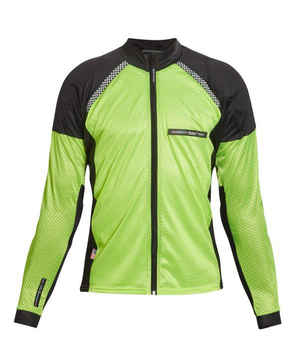 Bohn Body Armor All-Season Airtex Armored Motorcycle Shirt with Zipper High-Visibility Yellow Front