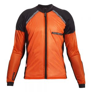 Bohn Body Armor All Season Airtex Armored Motorcycle Riding Shirt with Zipper Orange Front