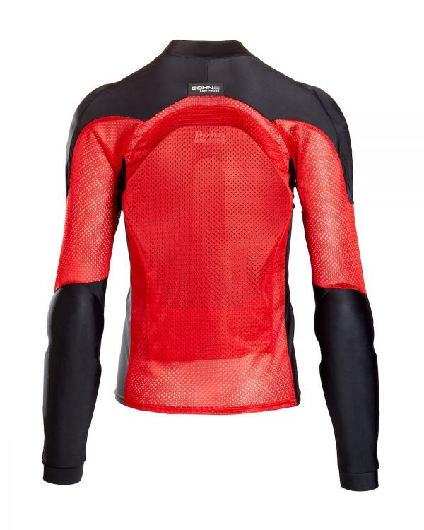 Bohn Body Armor All Season Airtex Armored Motorcycle Riding Shirt Red-Back