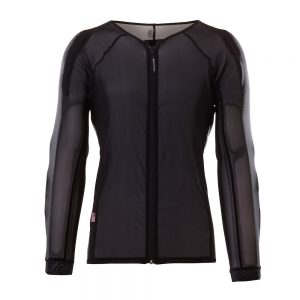Bohn Body Armor Cool-Air Mesh Armored Motorcycle Riding Shirt with Zipper Black Front-Women