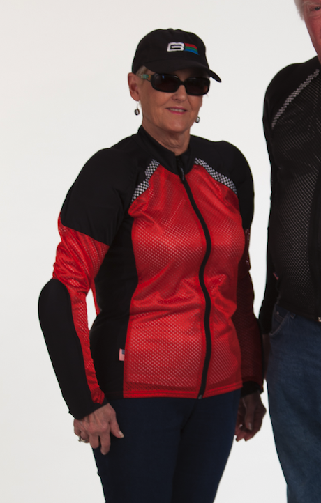 Sandra wearing the all-season armored Riding Shirt in Red - Elbow, arm, shoulder and back protection for motorcycling