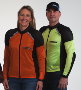 Bohn Body Armor Owners Kristen and Ed Staggs wearing the Airtex All-Season Armored Motorcycle shirts in Orange and Hi-Visibility yellow