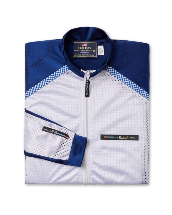 All-Season Airtex Motorcycle Riding Shirt Shell Blue and White-Folded