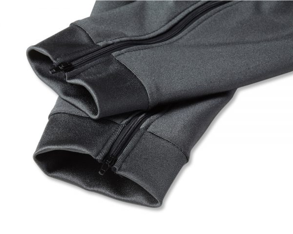 Close up of Bohn Performance-Thermal Motorcycle Armor Pants Shell cuff detail in Slate Gray.