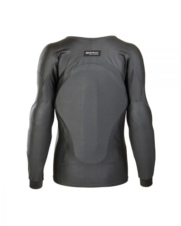 Bohn Body Armor Performance-Thermal Armored Motorcycle Riding Shirt Slate Gray Back-Women