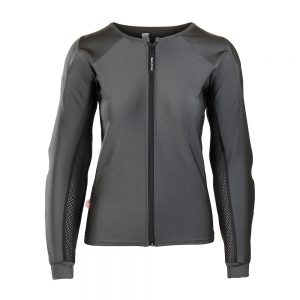 Bohn Body Armor Performance-Thermal Armored Motorcycle Riding Shirt Slate Gray Front-Women