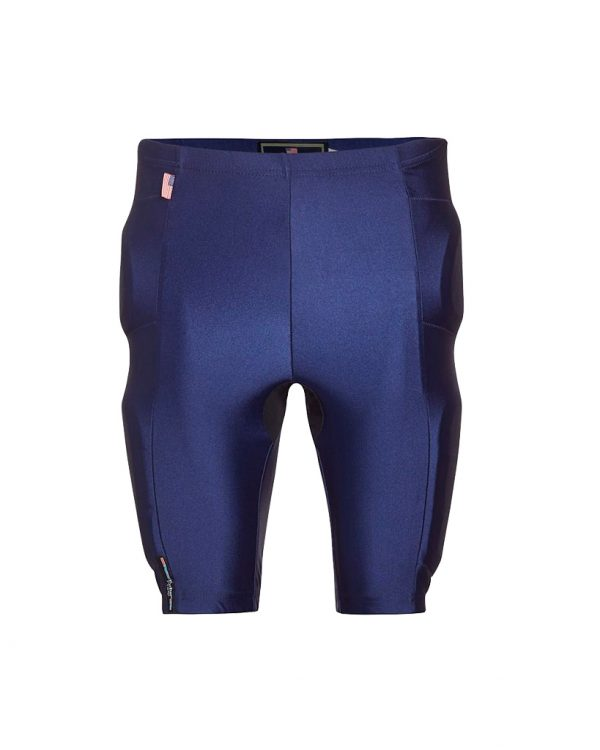 Motorcycle Riding Shorts with Armor front view blue