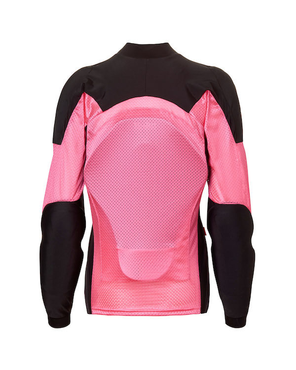 back armor on the Pink Armored riding shirt from Bohn Body Armor
