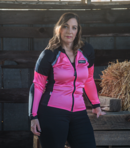 N.C. Bohn Customer wearing the All-Season Airtex Armored Motorcycle Shirt in Pink