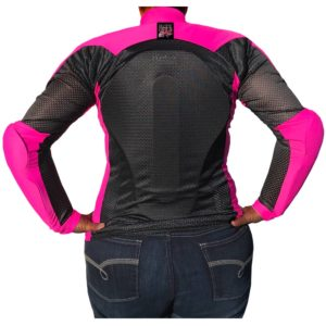 Black Girls Ride patch on the back of All-Season Airtex Armored Shirt
