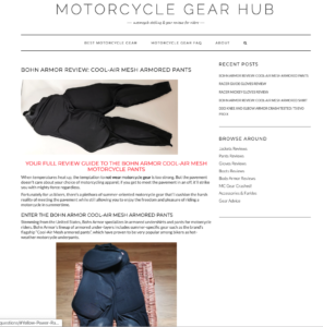 Motorcycle Gear Hub Review of the Cool-Air Armored Motorcycle Pants from Bohn Body Armor