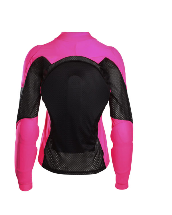 Back of All-Season Armored Motorcycle Shirt - Black and Pink - Bohn Body Armor