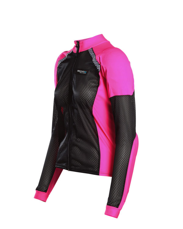 Side view All-Season Bohn Armored Motorcycle Riding Shirt in Pink and Black
