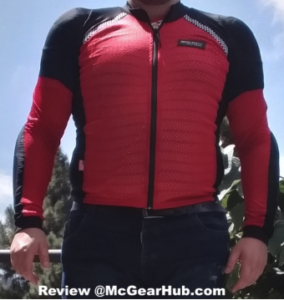Picture of Roy wearing the Bohn Armor Red and Black Airtex Armored Riding Shirt