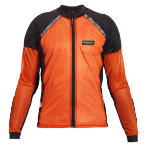 BOHN BODY ARMOR - ARMORED RIDING SHIRT - AIRTEX -ORANGE-BLACK-FRONT
