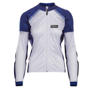 BOHN-BODY-ARMOR-ARMORED RIDING SHIRT - BLUE AND WHITE WOMENS FRONT