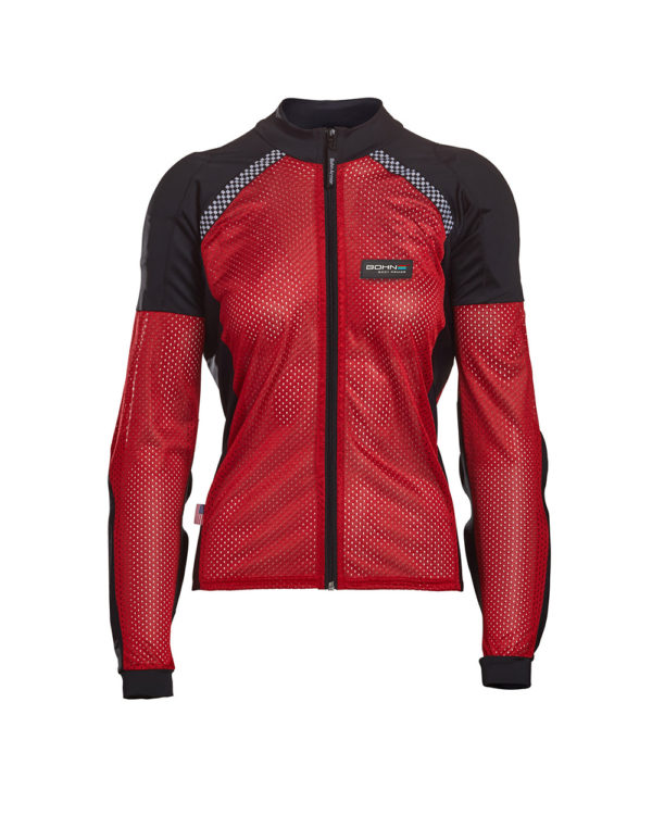 BOHN-BODY-ARMOR-ARMORED RIDING SHIRT - RED WOMENS FRONT
