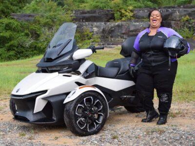 Bohn Customer Rachel Wearing Bohn Armor Purple Riding Shirt