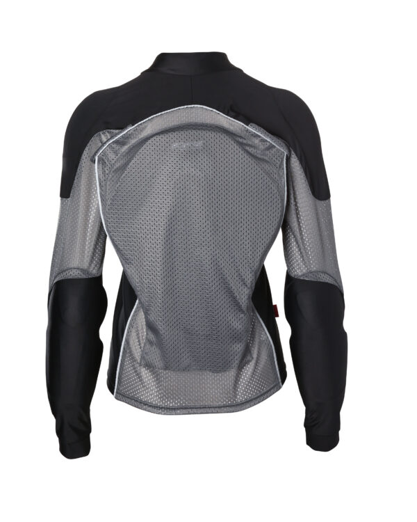 Womens Armored Riding Shirt - Grey Reflective Motorcycle Shirt - Front View